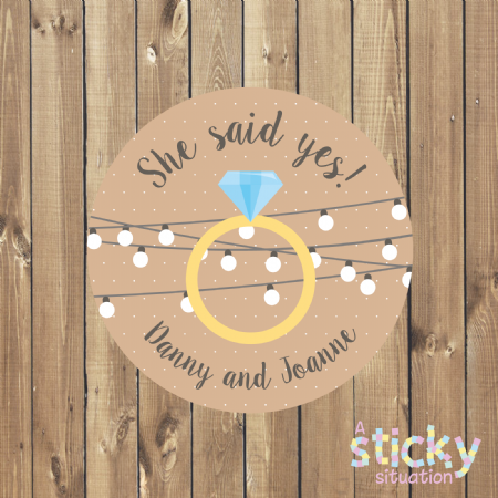 Personalised Engagement Stickers - 'She Said Yes' Ring Design